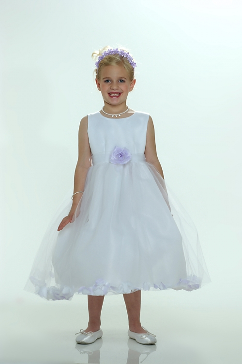 5005627a2aa FG 5083L - Flower Girl Petal Dress- White or Ivory Sleeveless Satin And  Tulle Petal Dress With Lilac Petals - Sizes 0 Months - 24 Months - Flower  Girl ...