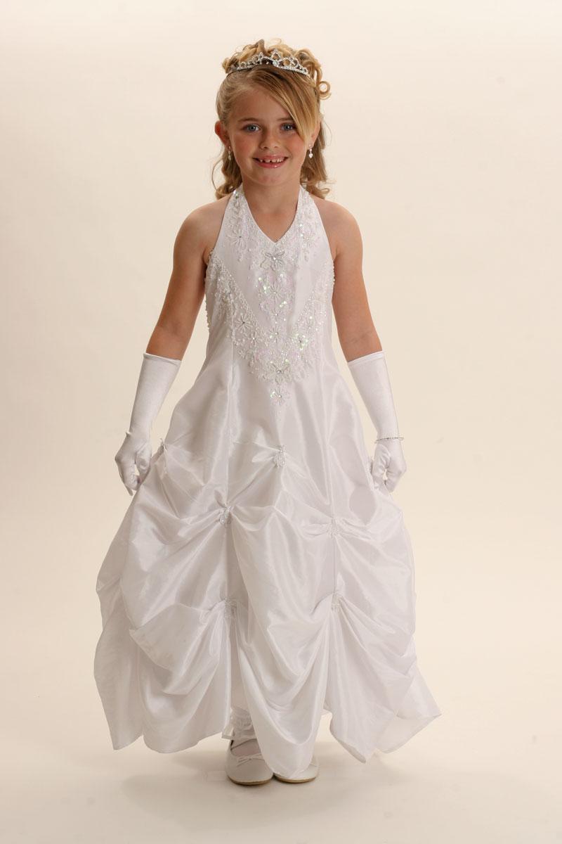 Tt 5394w Flower Girl Dress Style 5394 White Halter Dress