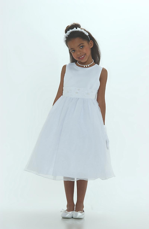 6036W - Flower Girl Dress Style 6036- WHITE- Simple Organza Dress ...