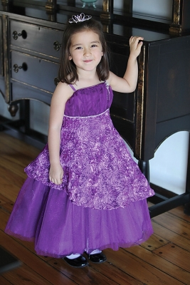 Purple and Teal Flower Girl Dresses
