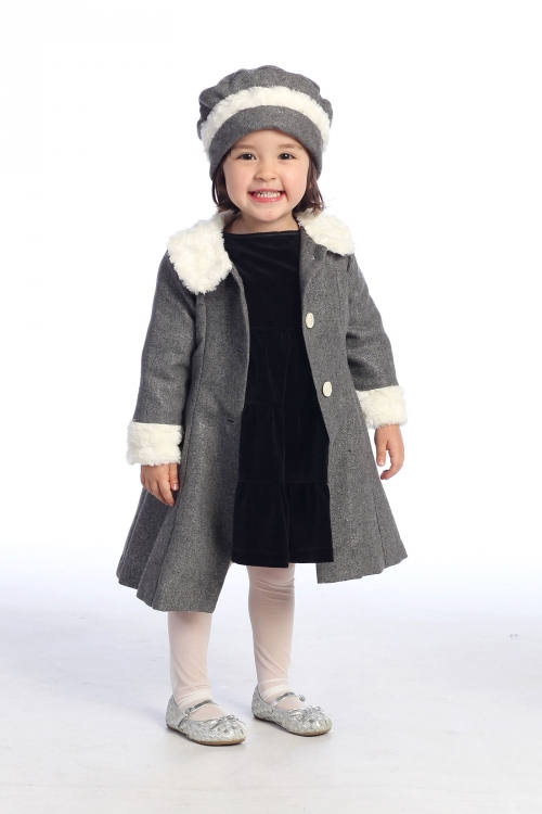 AG_GC710 - Girls Coat Style GC710- METALLIC GREY Wool and Poly