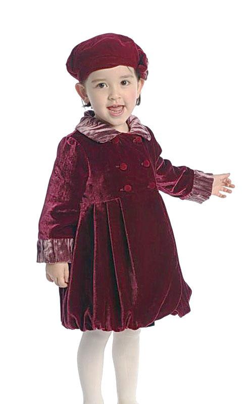 Ag Gc726 Girls Coat Style Gc726 Burgundy Velvet Bubble