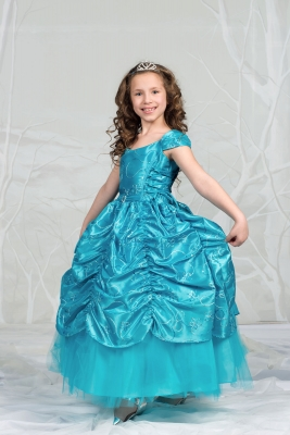 7e270ee49af Girls Dress Style 596 - TURQUOISE Short Sleeve Satin Dress with Sequin  Detailing