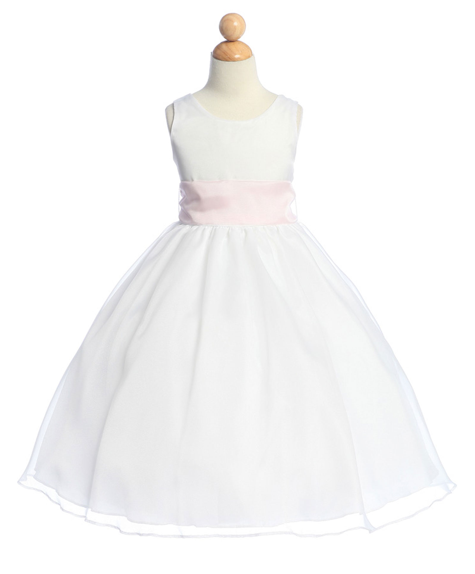 CA B519LP O Girls Dress Style 519 Organza Dress in Choice of White or Ivo