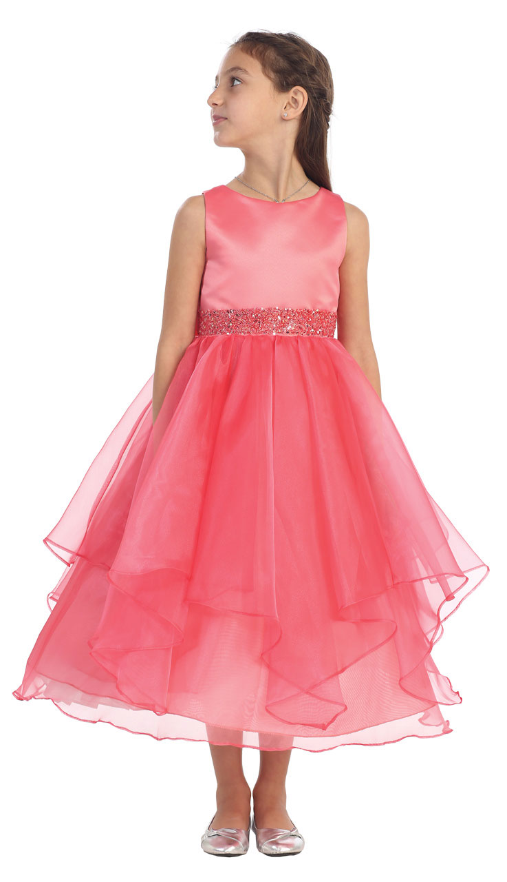 Cb 0302co 14 Girls Dress Style 0302 Coral Sleeveless