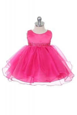 Girls Dress Style 0302- FUCHSIA Sleeveless Satin and Organza Layered Dress with Bead Waistline