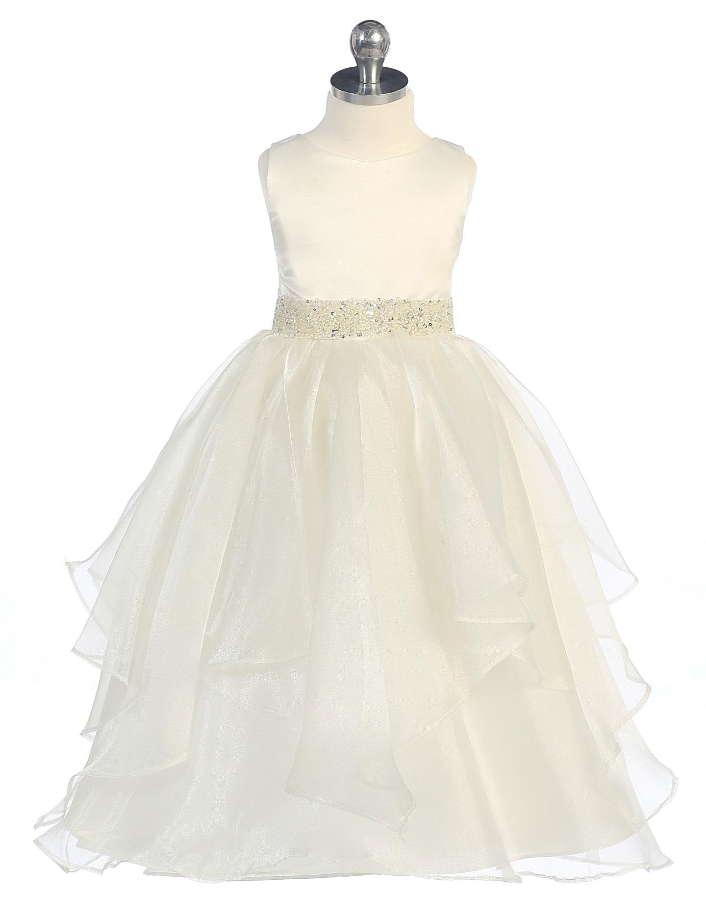 CB 0302IV Girls Dress Style 0302 IVORY Sleeveless Satin and Organza Layere