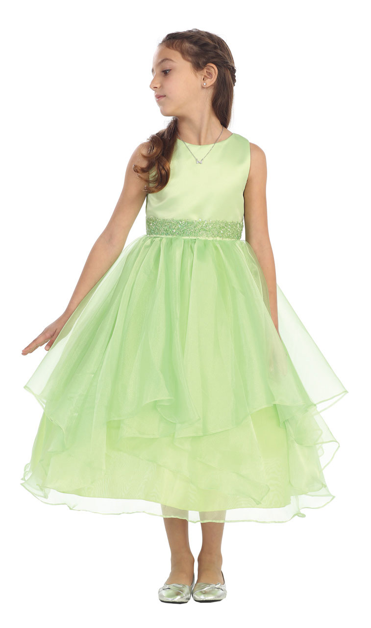 Cb 0302lm 14 Girls Dress Style 0302 Lime Sleeveless