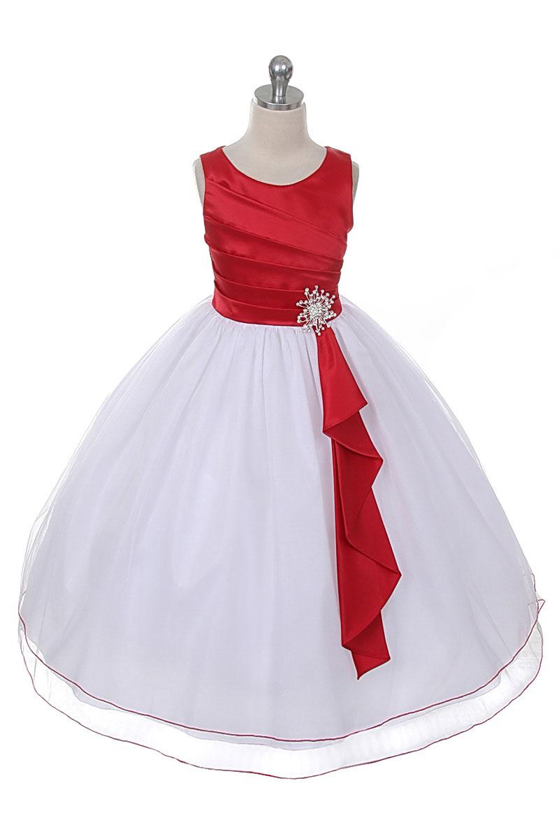Cb 0303wr Girls Dress Style 0303 Satin Tulle Sleeveless