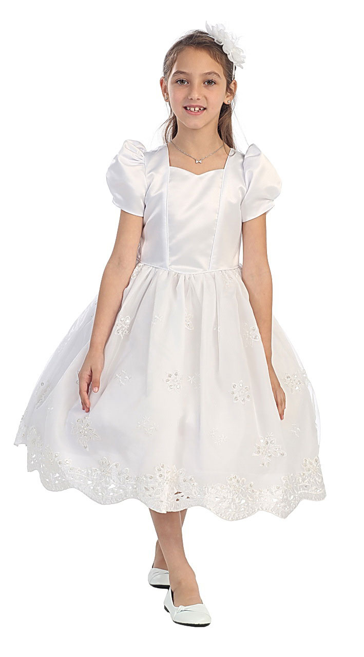 Cb 0304 Girls Dress Style 0304 White Short Sleeve Satin And Embroidered Dress All First
