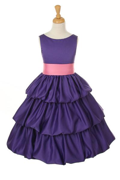 Cc 1061pur Girls Dress Style 1061 Purple Satin Bubble