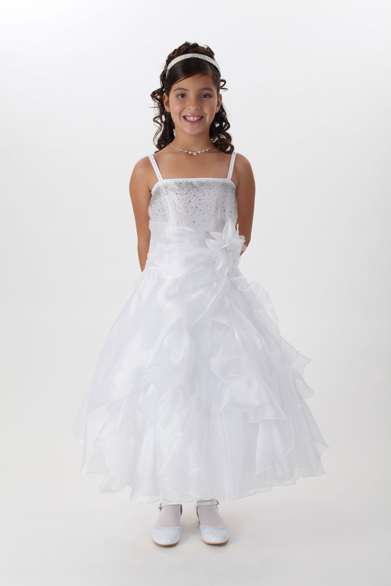 CC 1101 Girls Dress Style 1101 Organza and Beaded Satin