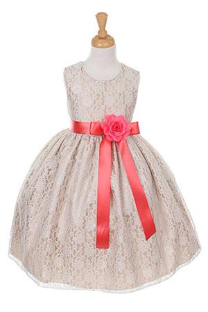 Cc 1132chco Girls Dress Style 1132 Champagne Taffeta