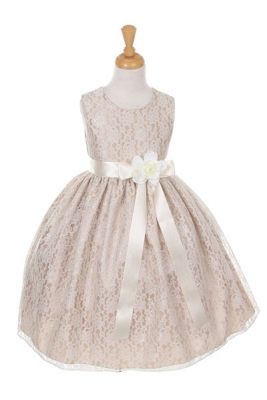 1b6bc5e83b6 Girls Dress Style 1132- CHAMPAGNE Taffeta and Lace Dress with IVORY Accents