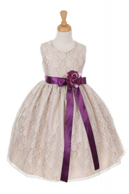 5c68511aeb0 Girls Dress Style 1132- CHAMPAGNE Taffeta and Lace Dress with PLUM Accents