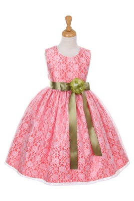 Sage green flower girl dresses flower girl dress for less girls dress style 1132 coral taffeta and lace dress with sage accents mightylinksfo