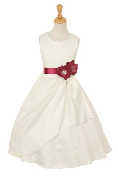 Cc1165bur girls dress style 1165 choice of white or ivory dress girls dress style 1165 choice of white or ivory dress with burgundy ribbon and flower mightylinksfo
