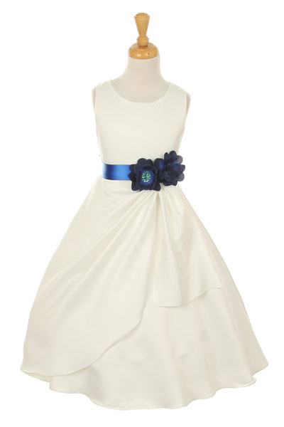 87b499bc621 CC 1165MB - Girls Dress Style 1165- Choice of White or Ivory Dress with Midnight  Blue Ribbon and Flower - Royal Blue - Flower Girl Dresses - Flower Girl ...