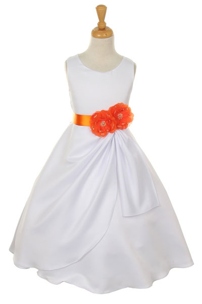 Cc1165or girls dress style 1165 choice of white or ivory dress girls dress style 1165 choice of white or ivory dress with orange ribbon and flower mightylinksfo