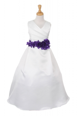 Purple flower girl dresses flower girl dress for less girls dress style 1186 choice of white or ivory dress with purple flower sash mightylinksfo