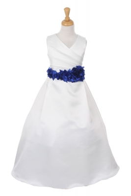 652b783152 Girls Dress Style 1186- Choice of WHITE or IVORY Dress with Royal FLOWER  Sash
