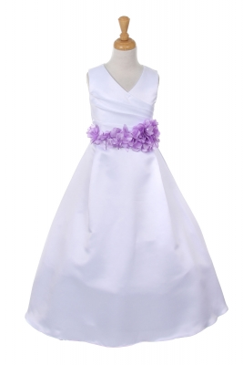 Purple flower girl dresses flower girl dress for less girls dress style 1186 choice of white or ivory dress with lavender flower sash mightylinksfo