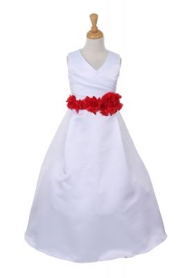 A line dresses flower girl dresses flower girl dress for less girls dress style 1186 choice of white or ivory dress with red flower sash mightylinksfo