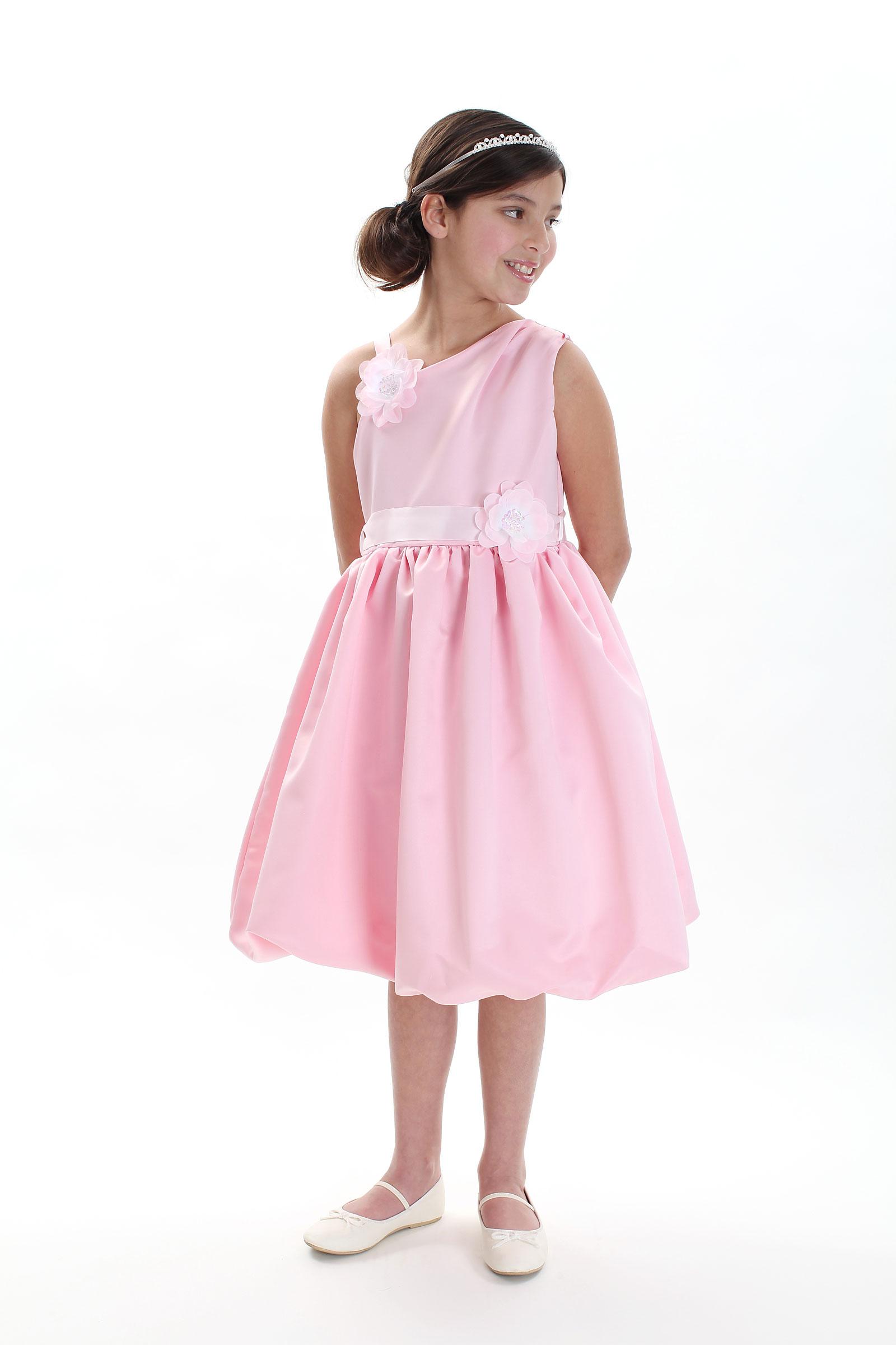 CC 1187P Girls Dress Style 1187 PINK Asymmetrical Dress with Bubble Skirt