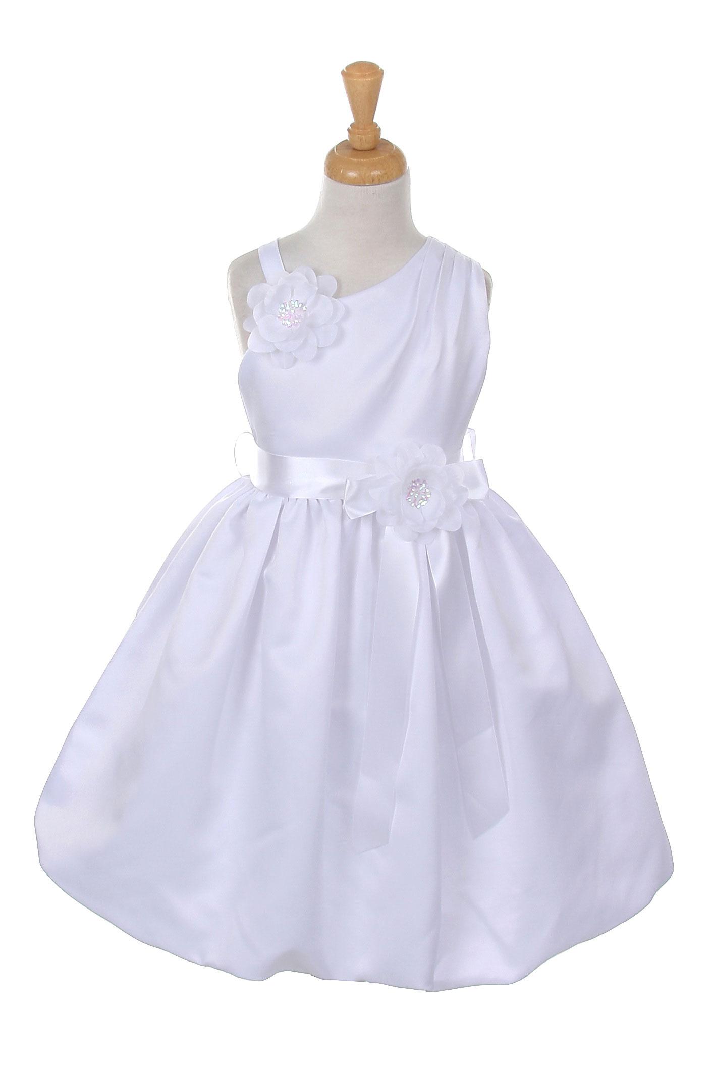 CC 1187W 14 Girls Dress Style 1187 WHITE Asymmetrical Dress with Bubble Sk