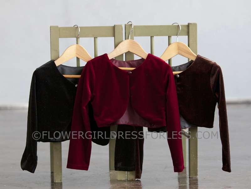 CK_825 - Girls Long Sleeve Velvet Jacket- In Choice of Color - See ...