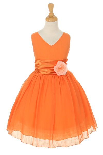 Kk 5720or Girls Dress Style 5720 Orange Crepe Dress