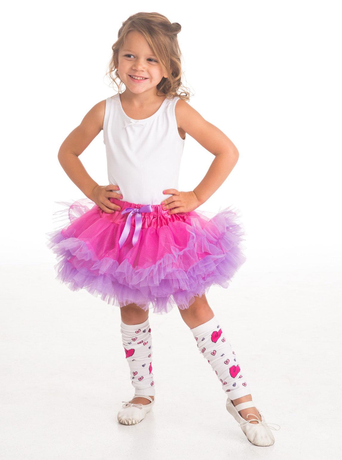 Girls Tutu Style Fuchsia Light Purple Fluffy Tutu Flower Girl Dress