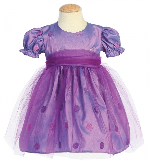 Purple Polka Dot Flower Girl Dress