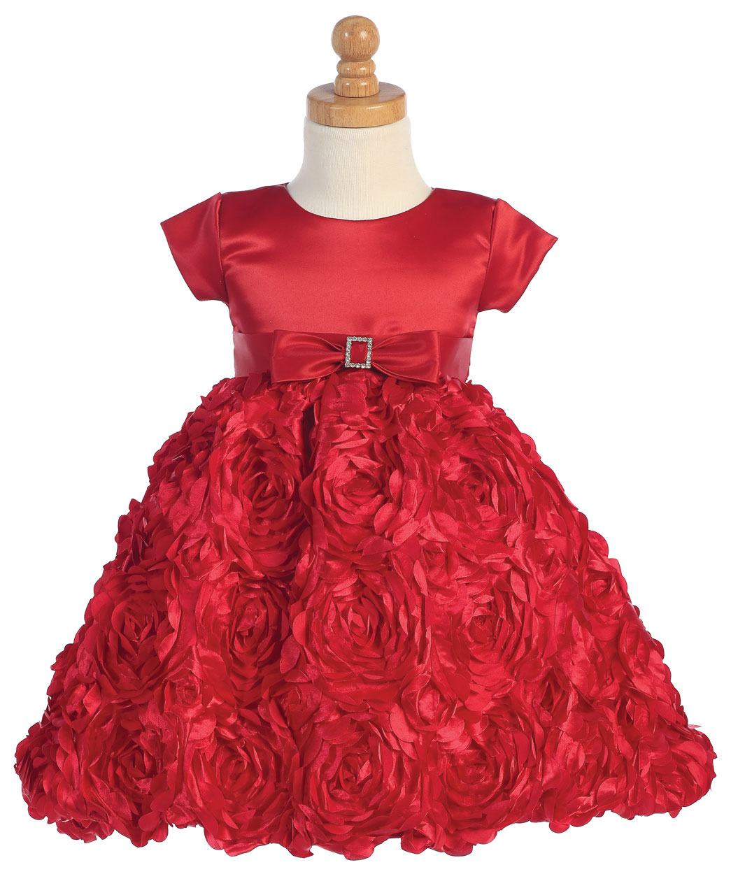 L C936R Holiday Dress Style C936 Satin Bodice with Floral Ribboned Skirt