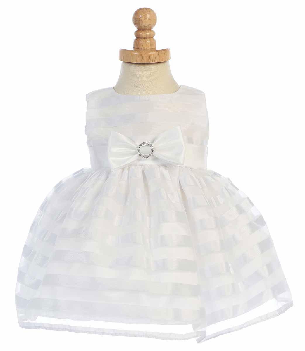 L M643 Girls Dress Style M643 WHITE Striped Organza Sleeveless Dress Whi