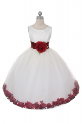 54c9f10404d Flower Girl Dress Style 152-Choice of White or Ivory Dress with Burgundy  Sash and