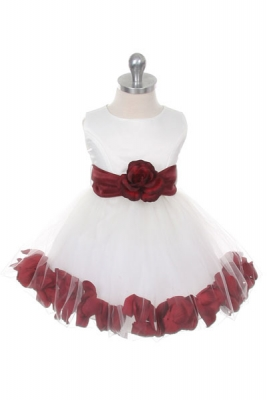 Burgundy and wines flower girl dresses flower girl dress for less flower girl dress style 152 choice of white or ivory dress with burgundy sash and mightylinksfo