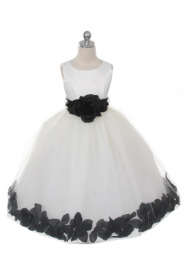 21b0994bae3 Flower Girl Dress Style 152-Choice of White or Ivory Dress with Black Sash  and