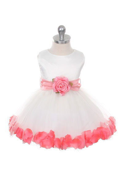 50d850d3919 MB 152IVCOb - Flower Girl Dress Style 152-Choice of White or Ivory Dress  with Coral Sash and Petals - Infants and Toddler Dresses - Flower Girl  Dresses ...