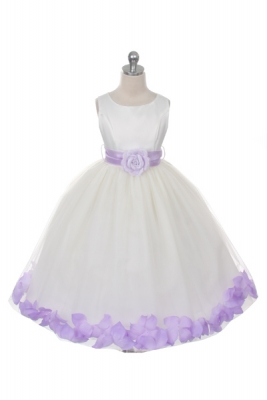 Petal dresses flower girl dresses flower girl dress for less flower girl dress style 152 choice of white or ivory dress with lilac sash and mightylinksfo