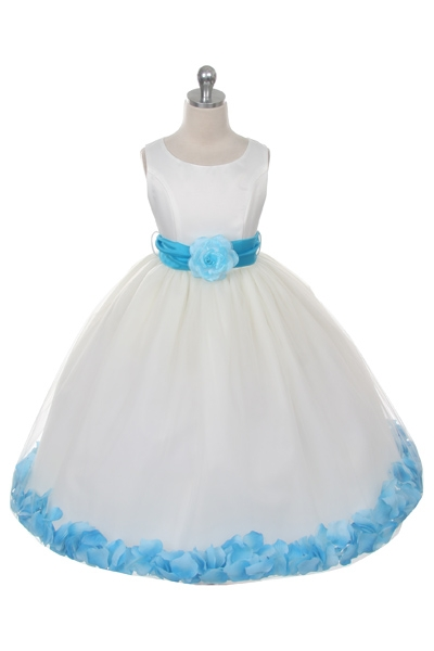 Mb152ivtur flower girl dress style 152 choice of white or ivory flower girl dress style 152 choice of white or ivory dress with turquoise sash and mightylinksfo