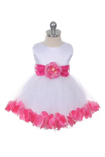 9298c994312 MB 152WFUSb - Flower Girl Dress Style 152-Choice of White or Ivory Dress  with Fuchsia Sash and Petals - Sizes 0 Months - 24 Months - Flower Girl  Dresses ...