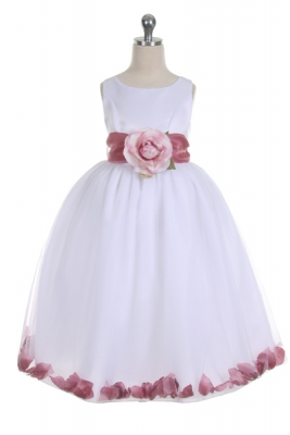 8082ac0fb93 Flower Girl Dress Style 152-Choice of White or Ivory Dress with Mauve Sash  and
