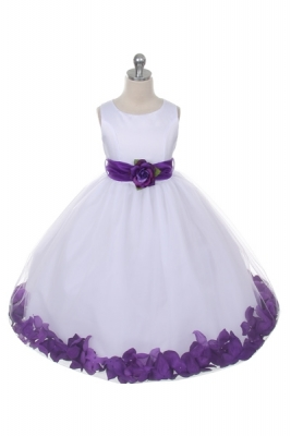 3101c36086d Flower Girl Dress Style 152 - Choice of White or Ivory Dress with Purple  Sash and