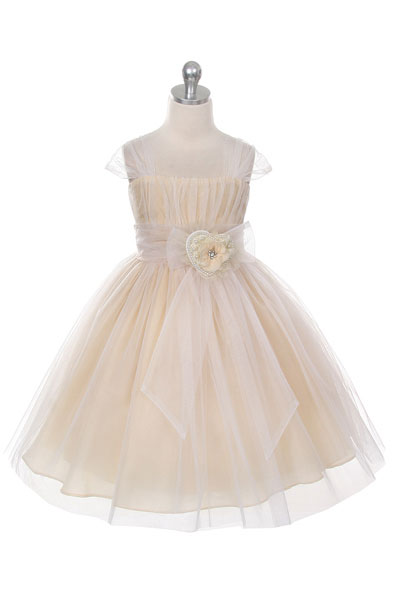Mb 293ch Girls Dress Style 293 Tulle Cap Sleeve Dress
