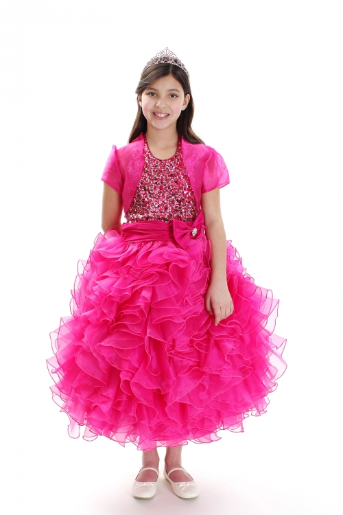7382ef8d8c9b RK 1023FUS 14 - Girls Dress Style 1023- FUCHSIA Organza Dress with ...