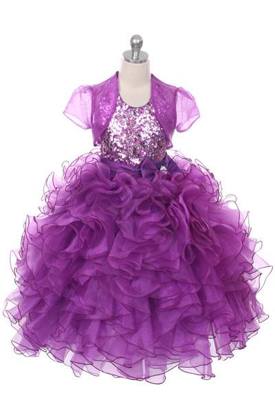 Rk 1023pur Girls Dress Style 1023 Purple Organza Dress