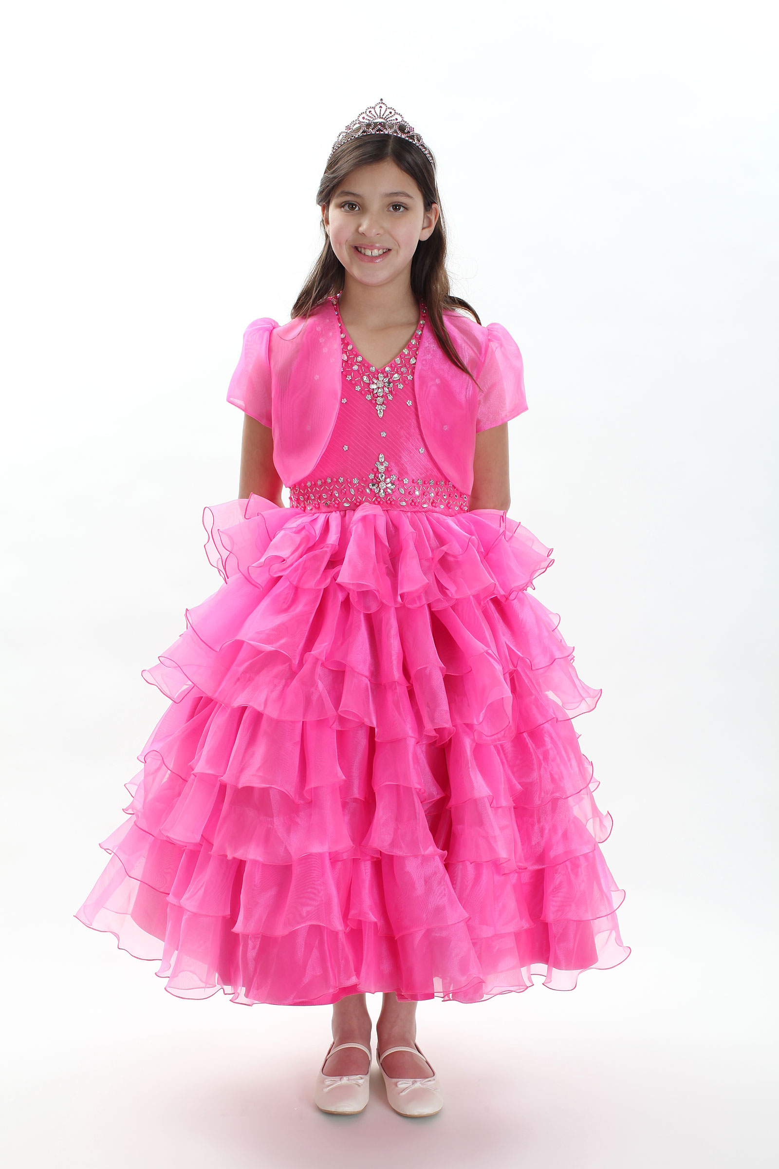 Rk 1024fus 14 Girls Dress Style 1024 Fuchsia Organza Tiered Dress With Bead Embellished