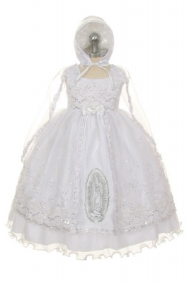 54d02d004d1 Girls Dress Style 364- WHITE Baptism and Christening Outfit Set with Mary  Embroidering