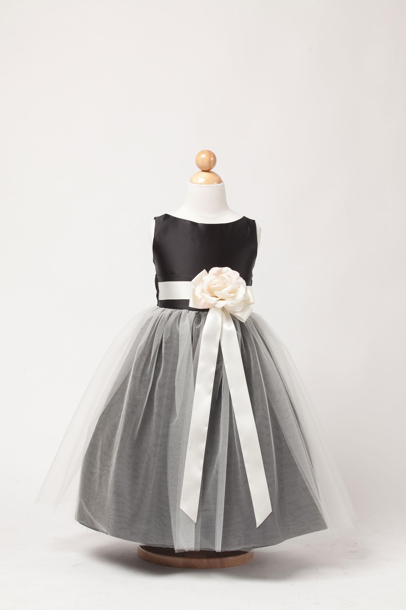 SK 402B Girls Dress Style 402 Sleeveless Satin and Tulle Dress Black F